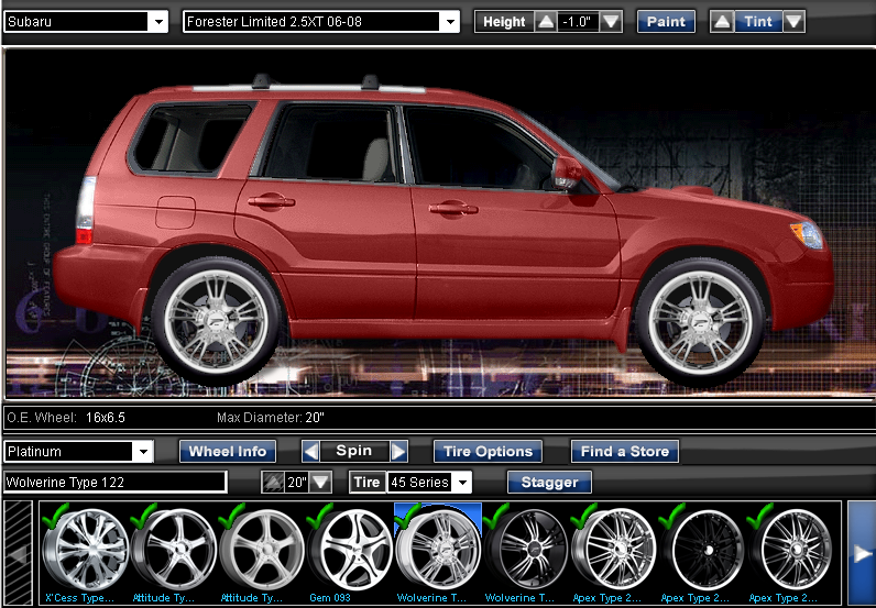 Wheel Visualizer With Lift Height