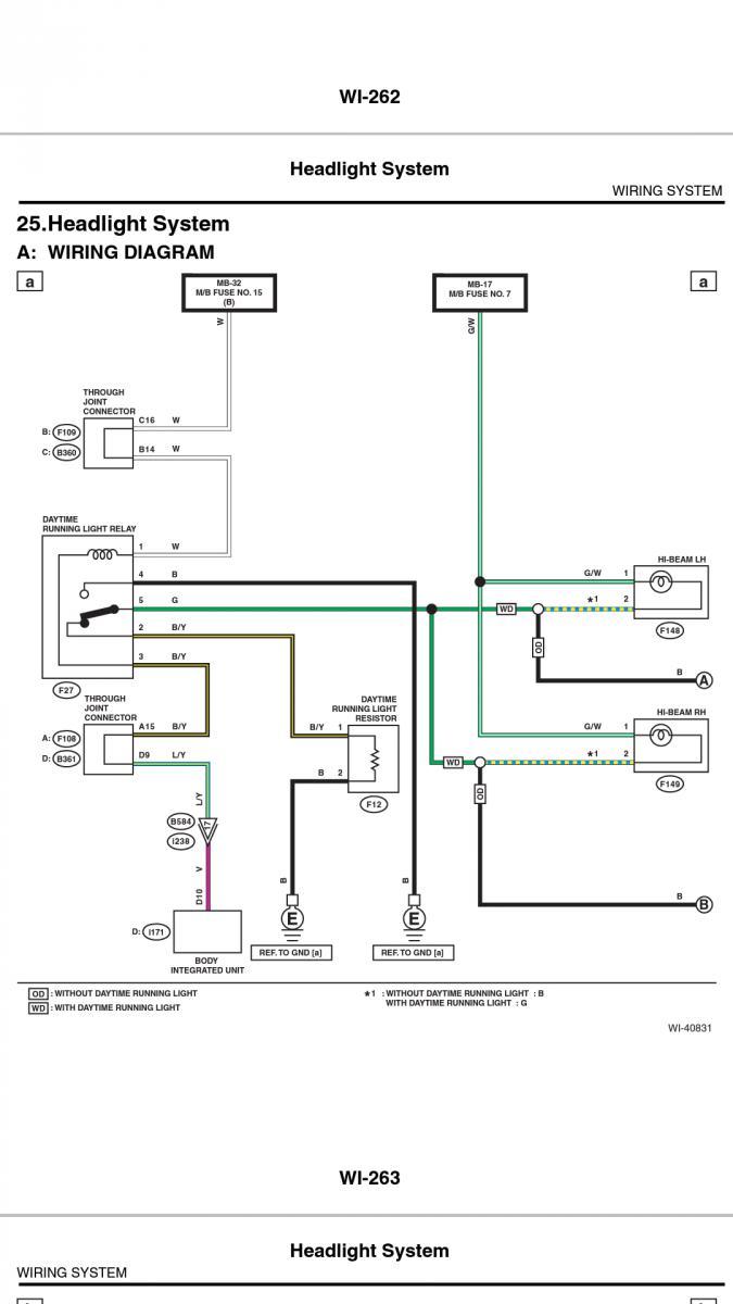Subaru Outback Driving Light Wiring Diagram