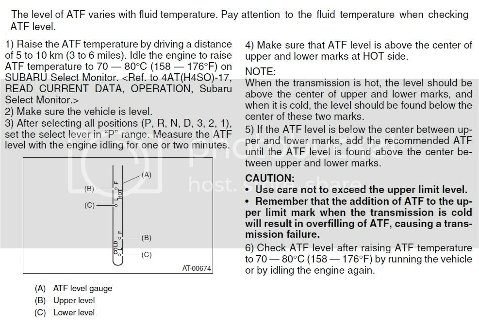 03-'05) - Checking 4EAT Transmission Fluid dipstick | Subaru