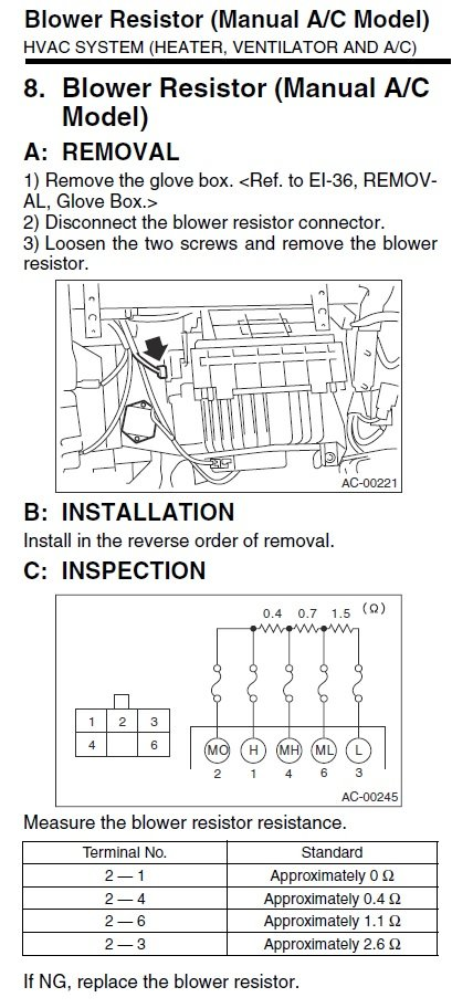 03-'05) - Blower motor melts wires off | Subaru Forester