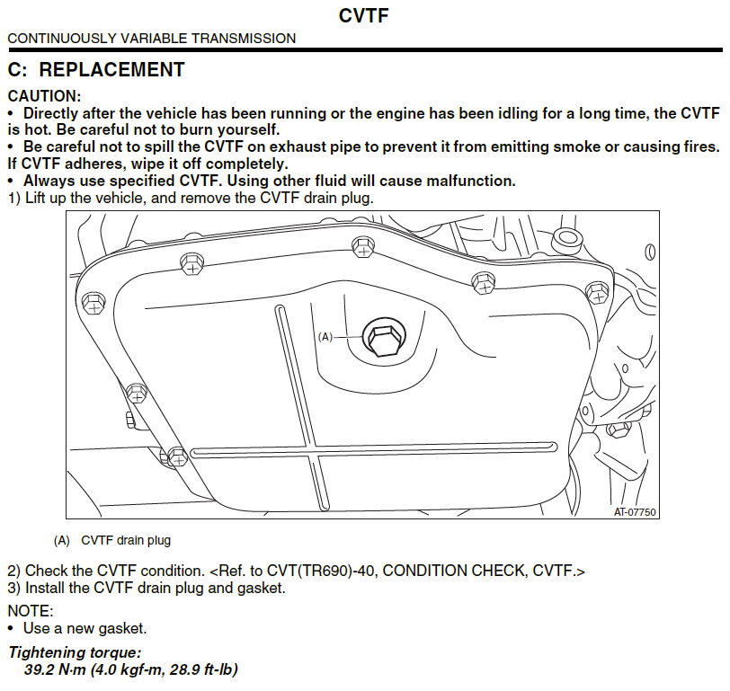 14-'18) - CVT transmission refill | Subaru Forester Owners Forum